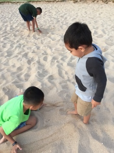 Boys having fun in the sand!